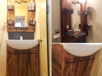 【リフォーム編】賃貸住宅の洗面台をSPF材と100均のワイヤーカゴでぷちリフォーム