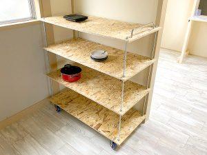 【賃貸DIY】長ネジとOSB合板を使ったキッチンワゴンをDIY